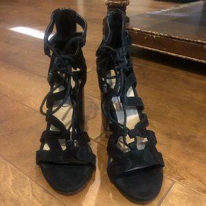 Steve Madden black open toe block heeled sandals